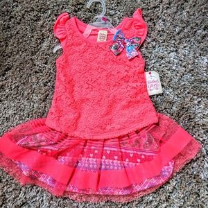 faded glory girls outfit skirt XS 4 5 top set